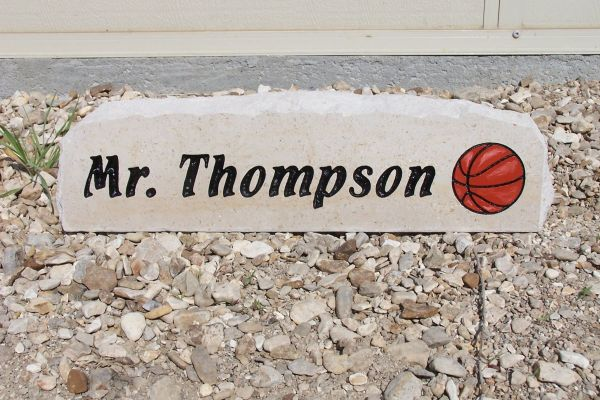 engraved basketball desk stone