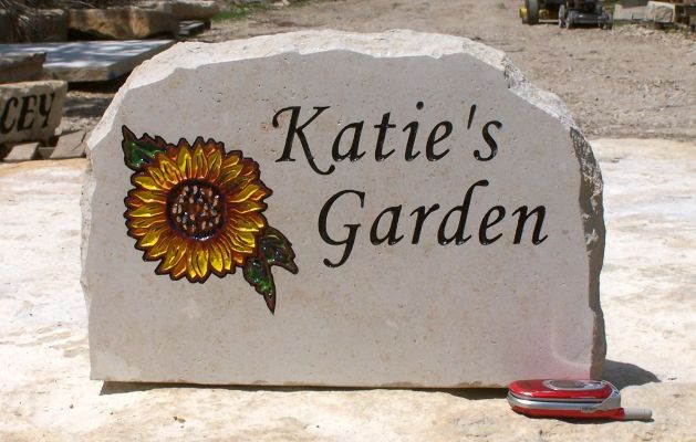 Garden stone w name sunflower garden stone w name workwithnaturefo
