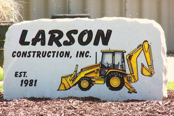 engraved construction sign