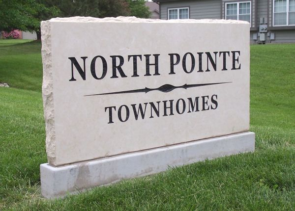 engraved commercial location sign