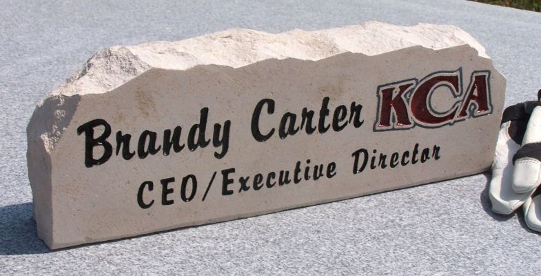 engraved kca desk stone