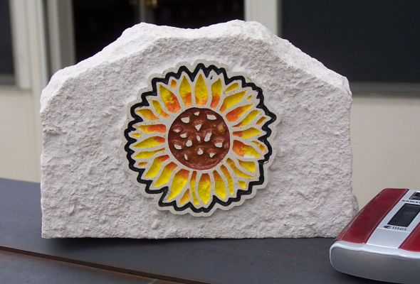 engraved sunflower desk stone