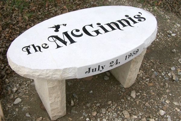 personalized oval stone bench