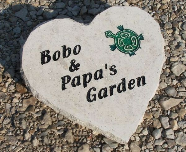 engraved turtle garden heart shaped stone