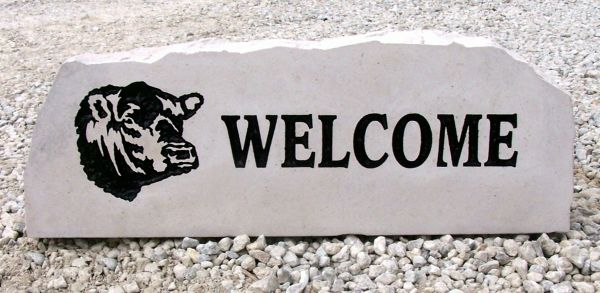 bull welcome porch stone