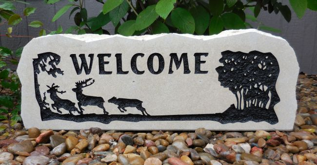 deer family welcome porch stone