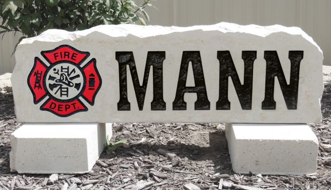 firefighter yard stone