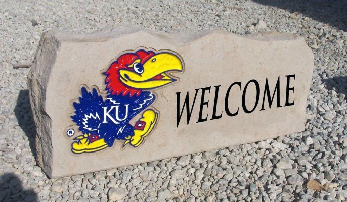 ku jayhawk welcome porch stone