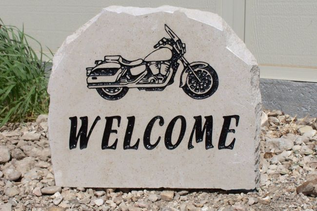 motorcycle welcome porch stone