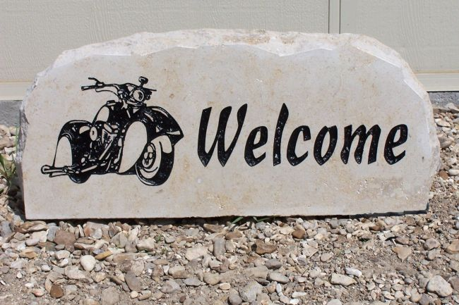 motorcycle welcome stone
