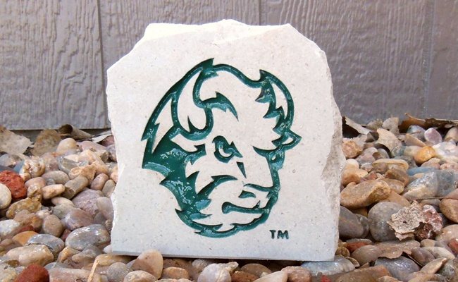 ndsu bison head desk stone small