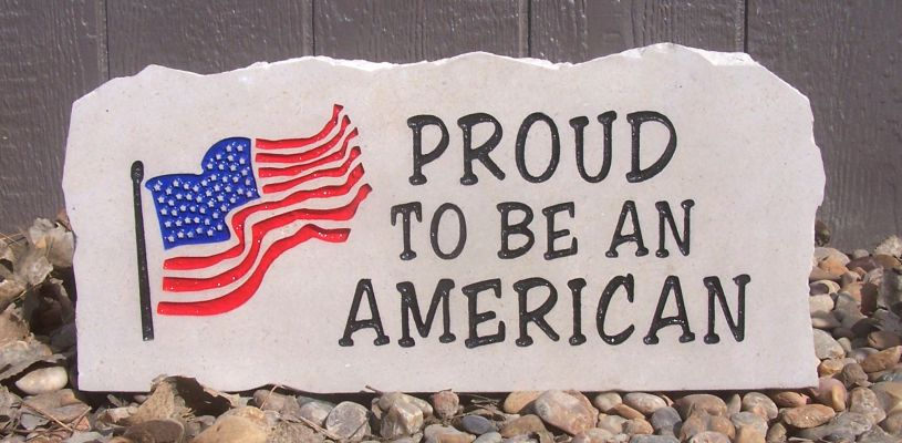 flag proud american porch stone
