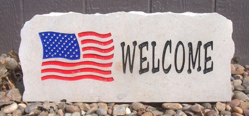 flag welcome porch stone