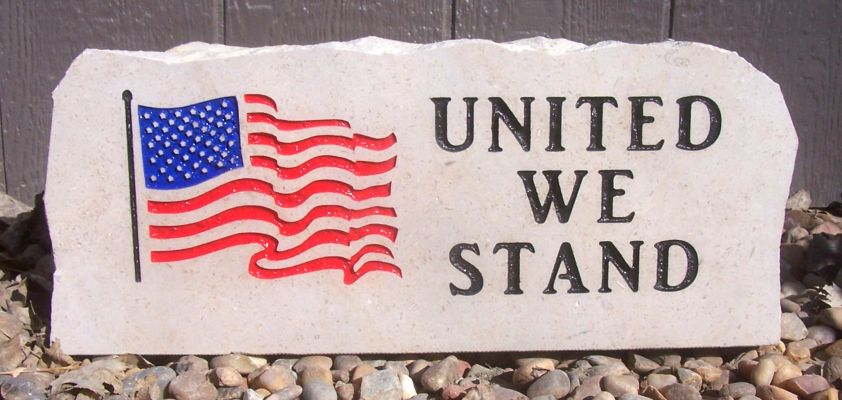 flag united we stand porch stone
