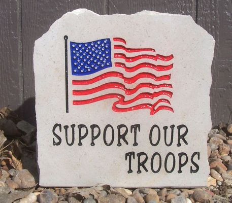 flag support our troops porch stone
