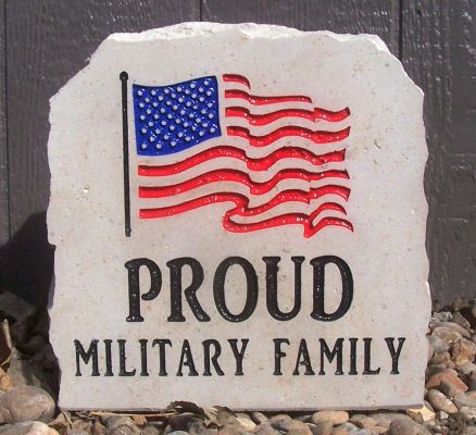 flag proud military family porch stone