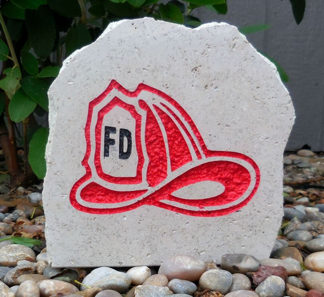 firefighter helmet desk stone