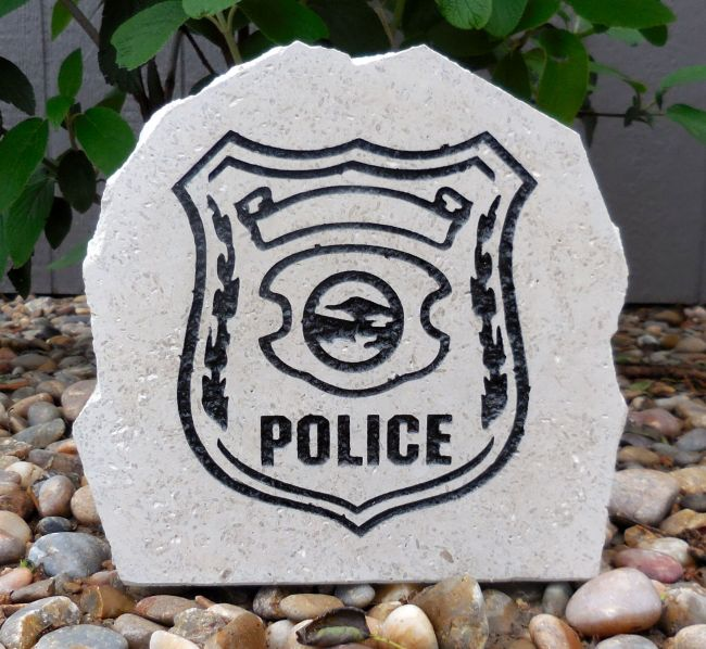 police shield desk stone