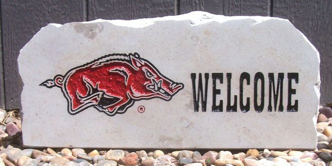 17in razorback welcome porch stone