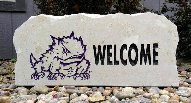 tcu welcome porch stone
