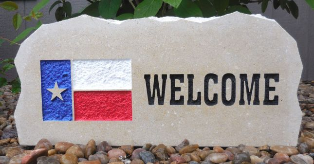 state of texas flag welcome porch stone