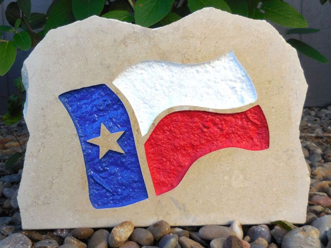 state of texas waving flag porch stone